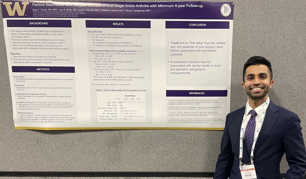 Dr. Sagar Chawla (R5) presenting research poster at the AOFAS 2021 Annual Meeting in Charlotte, NC