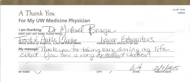 patient comment for Dr. Brage
