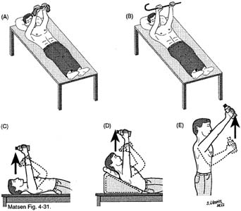 Fig. 3 - Home Exercises for the Unstable Shoulder. Scapular Muscle Exercise. Two Hands